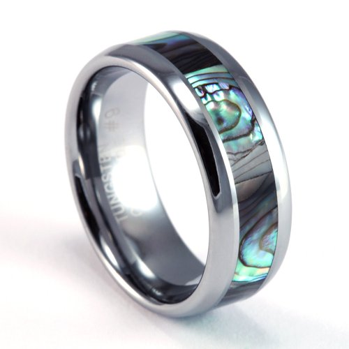 8mm Mens / Woman\'s Tungsten Carbide Ring with Dark Mother of Pearl ...