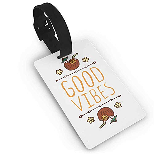 Funny luggage tag,Good Vibes,Hand Sketch Style Summer Elements Coconut Cocktail Drinks and Flowers,Holders Zip Seal & Steel Loops Thick Orange Redwood - Drink Holder Redwood