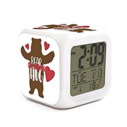 California Bear Hug Heart Alarm Clock Displays Time Date and Temperature Soft Nightlight for Kids Home Office Bedroom Heavy Sleepers