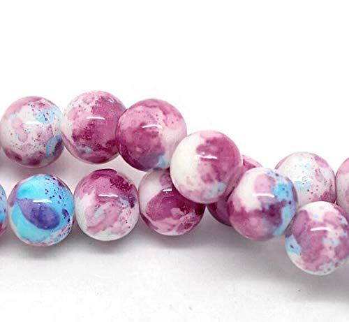 - 15 Mottled Glass Beads 10mm - Tones of Cotton Candy and Blue Skies - BD111