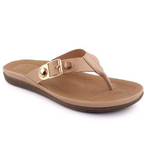 Unze Zapatillas planas ocasionales del zapato del carnaval de la escuela de la playa del verano de los nuevos de las mujeres 'Paul' Zapatos Tamaño BRITÁNICO 3-8 Beige