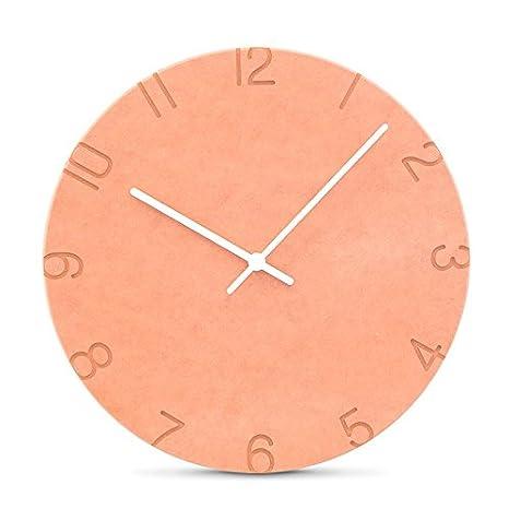 AIZIJI Reloj de Pared de Color Naranja gráfico Mural Salón Moderno Dormitorio Creativo Silencio Minimalista Reloj Relojes de cuarzo/28cm Inicio: Amazon.es: ...