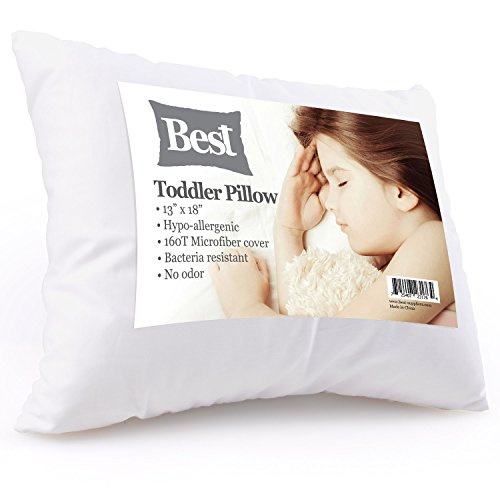 Best Toddler Pillow (INCREDIBY SOFT - 100% HYPOALLERGENIC) No Pillowcase Needed! Allergy Free - White Microfiber Finish 13x18 - Provides Great Back & Neck Support for Any Toddler, Kid, or Child by Best