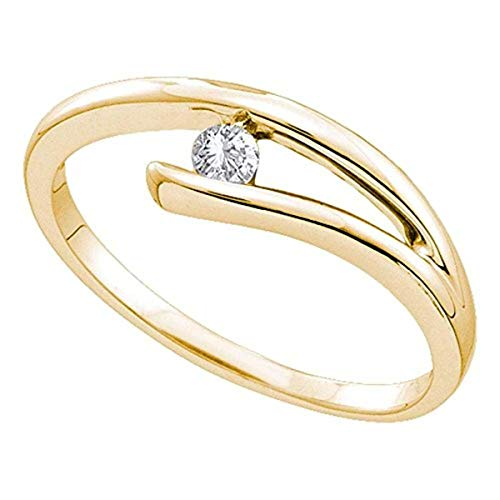 Roy Rose Jewelry 14K Yellow Gold Womens Round Diamond Solitaire Promise Bridal Ring 1/10-Carat tw