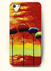 SevenArc Phone Case Design with Red Blue Green Tall Trees and Sunset for Apple iPhone 5 5s 5g