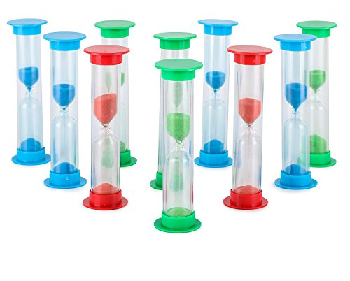 Sand Timer Set (1 Min) Large 10pcs Pack - Colorful Set of One Minute Hour Glasses for Kids, Adults - Colors: Blue, Green, Red by Jade Active (Hour 1 Hourglass)