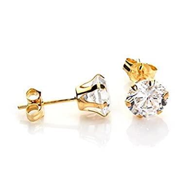9ct White Gold 4mm Round Clear CZ Crystal Studs/Earrings u0oxOMG7