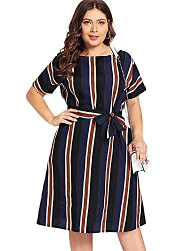 Milumia Women's Plus Size Striped Belted Colorblock Short Sleeve Midi Dresses Navy