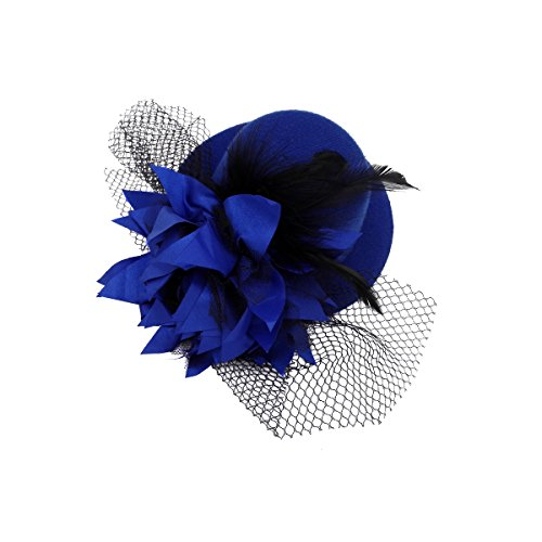 Kalevel Flower Hair Clip Feather Hair Clip Punk Mini Top Hat with Clips and Veil for Girls Women (Mini Hat With Veil)