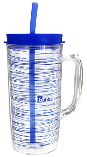 Bubba Envy Travel Thermal Mug, 48oz - Double Wall Insulated w/Straw and Handle- Keep All Your Favorite Cold Drinks at Your Side - Sweat Resistant, Ideal For Travel - Serenity w/Stripes Graphic (Insulated Thermal Mug)