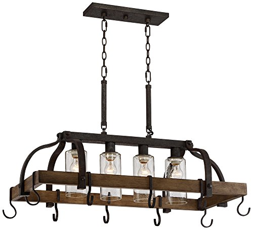 4-Light Bronze Pot Rack Chandelier ()