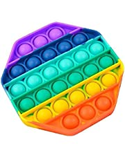 Pop it Bubble Sensory Fidget Toy Autism Stress Relief Silent Classroom Special Needs Stress Reliever-Octagonal - Multi color