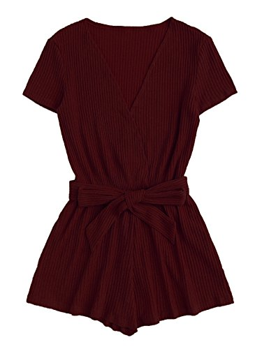 MAKEMECHIC Women's Self Tie Causal Ribbed V-Neck Solid Wrap Jumpsuit Romper Burgundy ()