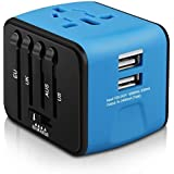 HAOZI Universal Travel Adapter, All-in-one International Power Adapter with 2.4A Dual USB, European Adapter Travel Power Adap