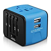 Universal Travel Adapter, HAOZI All-in-one International Power Adapter 2.4A Dual USB (2USB-Blue)