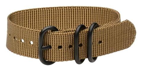 Clockwork Synergy - 3 Ring Heavy NATO PVD Black Watch Strap Bands (22mm, Desert Tan) (Pebble Band Ring)