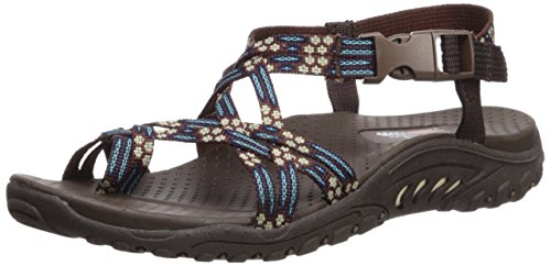 Skechers Women's Reggae-Loopy Sandal,Chocolate/Blue,8.5 M US