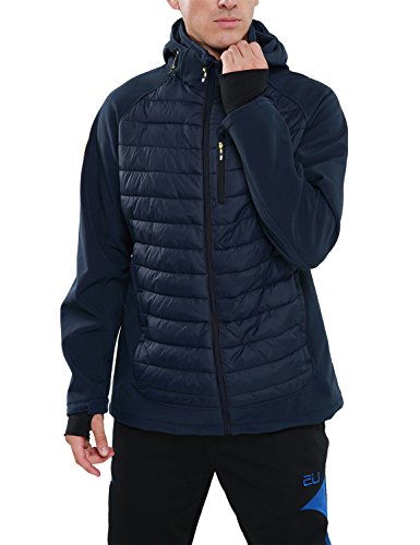 Hooded Tech Shell Jacket (PHIBEE Men's Outdoor Windproof Full-Zip Polyester Softshell Hooded Jacket Blue XL)
