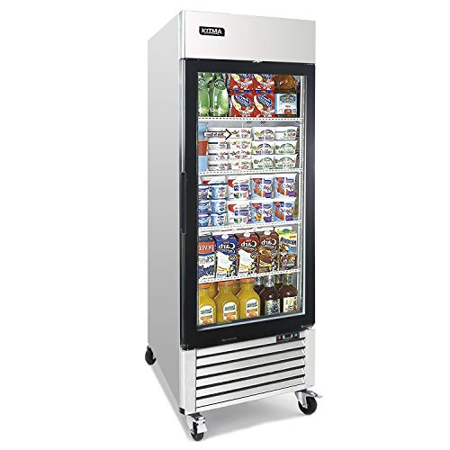 Single Glass Door Merchandiser Refrigerator – KITMA 19.1 Cu.Ft Merchandiser Display Case with LED Lighting for Restaurants, 33°F – 38°F
