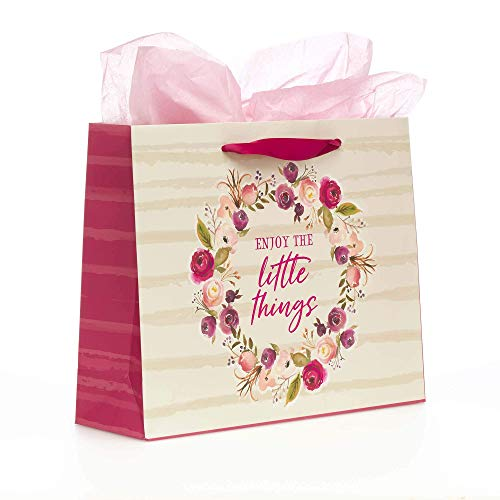 With Love Brand Enjoy The Little Things Medium Inspirational Gift Bag With Tissue Paper and Card