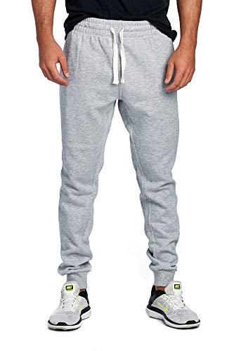ProGo Men's Joggers Sweatpants Basic Fleece Marled Jogger Pant Elastic Waist (Large, Heather Grey)