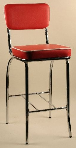 - Chrome Dining Stool In 50s Retro Style with Red Upholstery