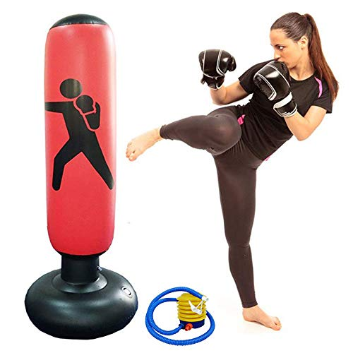 63inch Boxing Punch Bag, Inflatable Punching Bag, Kid's Kickboxing Bag, Inflatable Free- Standing Fitness Target Stand Tower Bag, Free Standing Tumbler Column Sandbag for Relieving Pressure Body Bu