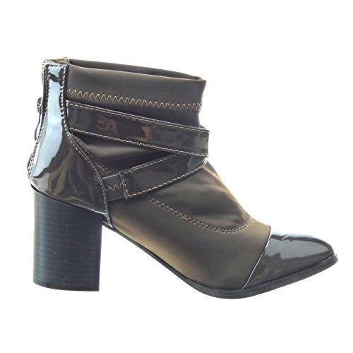 Sopily - Scarpe da Moda Stivaletti - Scarponcini bi-materiale alla caviglia donna fibbia lucide Tacco a blocco tacco alto 8 CM - Marrone