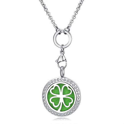 Mesinya (1'' )Essential Oil Diffuser Necklace Aroma Hypo-Allergenic Magnetic Locket Pendant With Chain&Pads (Four Leaf Clover W/crystal)