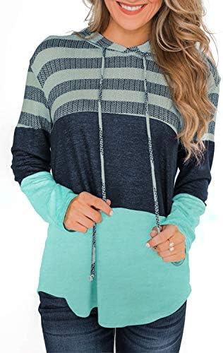 Yonala Drawstring Pullover Patchwork Sweatshirts product image