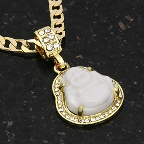 Florance jones 14K Gold Plated Green Blue Black Red White Buddha 5mm 24 Cuban Necklace Chain | Model NCKLCS - 8008 |