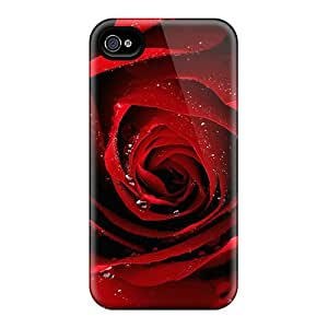 New Red Rose Tpu Case Cover, Anti-scratch ScoDay Phone Case For Iphone 4/4s