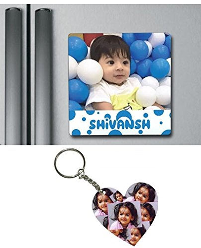 buy combo of 1 photo fridge magnet and 1 customized wooden key chain