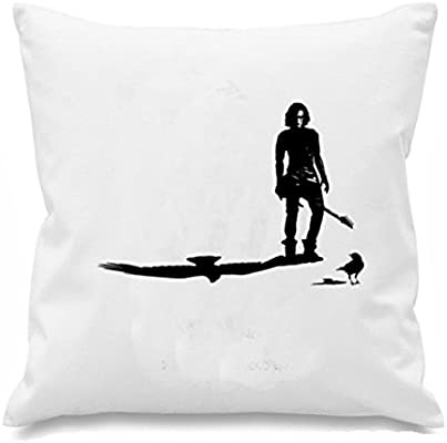 White canvas 8oz Cushion Cover 45x45cm The Crow STANDING IN THE SHADOWS