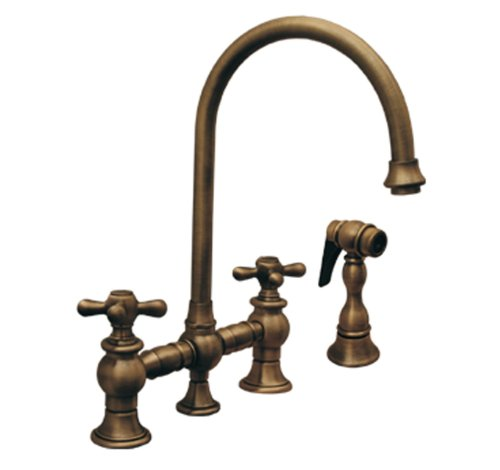 Whitehaus Antique Brass Widespread Faucet Widespread