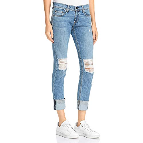 (Rag & Bone Womens Dre Denim Ripped Boyfriend Jeans Blue 27)