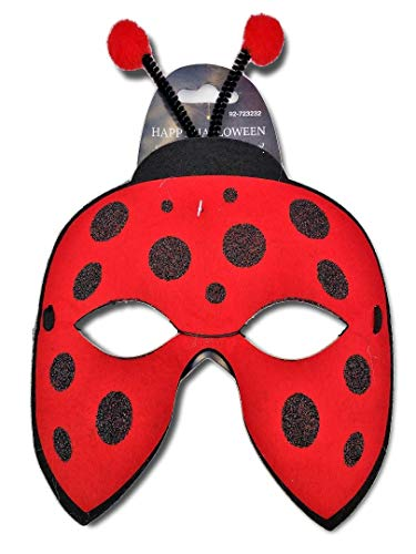 Red Lady Bug Felt Mask with Bouncy Antennae with Puff Ball Tips; Child Lrg or Adult Sm; Kids Parties, Halloween, Birthdays, etc ()