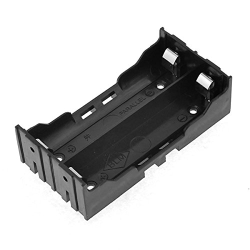 Lithium Ion Battery Holder - Battery Holder Case, Saim 4 Pins Black Plastic DIY Battery Case Holder for 2x18650 Rechargeable Li-ion Batteries
