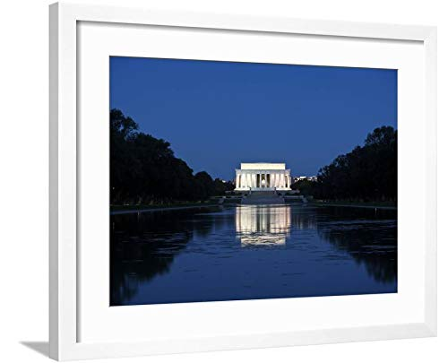 ArtEdge Lincoln Memorial Reflection in Pool, Washinton D.C, USA by Stocktrek Images, Wall Art Framed Print, 18x24, Soft White Mat