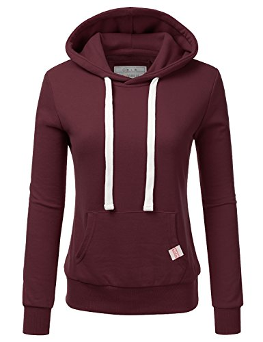 (Doublju Basic Lightweight Pullover Hoodie Sweatshirt for Women Maroon Medium)