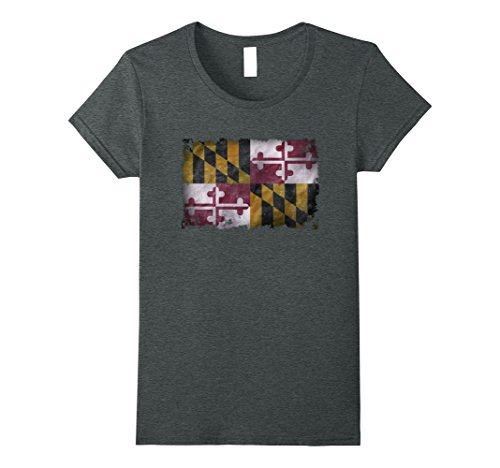 Womens Vintage Destroyed Distressed Maryland Flag Gift Flag T Shirt Large Dark Heather
