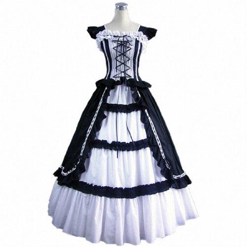 3Colors Shortsleeve Ruffles Masquerade Gown Evening Prom Gothic Lolita Dress Black,Medium