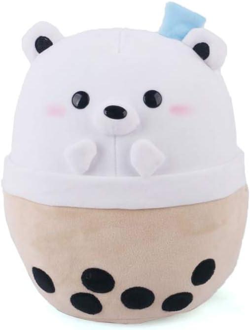 Avocatt Polar Bear Boba Plushie - 10 Inches Ice Bubble Milk Tea Asian Comfort Food Soft Plush Toy Stuffed Animal - Kawaii Cute Japanese Anime Style Gift