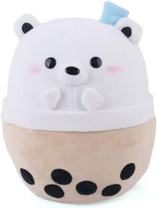 Avocatt Polar Bear Boba Plushie - 10 Inches Ice Bubble Milk Tea Asian Comfort Food Soft Plush Toy Stuffed Animal - Kawaii Cute Japanese Anime Style Gift