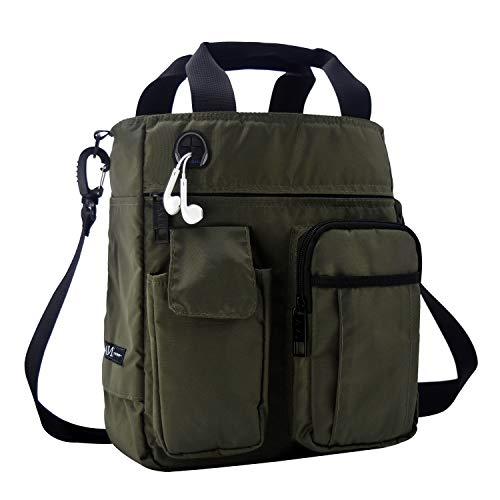 AMJ Small Shoulder Messenger Bag for Men & Women Multifunctional Crossbody Bag Business Laptop Bag for Travel/School Olive Green