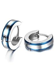 JewelryWe 2pcs Stainless Steel Mens Huggie Hinged Hoop Stud Earrings Set One Pair Color Blue Silver (with Gift Bag) Christmas Valentine's Day Gift Deal