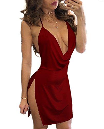 Mini Robe Jarretelles Court Party Fendues V t Rouge Moulante Robe Vin Robes Sexy Fashion de Nu Femmes Dos C t Col xZOz814w