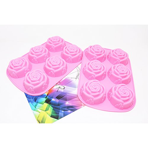 IDS 6 Cavity Rose Shaped DIY Silicone Mold for Handmade Soap, Cake, Jelly, Pudding, Chocolate, Set of 2