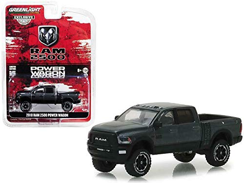 2018 Dodge Ram 2500 Power Wagon Pickup Truck Granite Crystal Dark Gray Hobby Exclusive 1/64 Diecast Model Car by Greenlight 30015