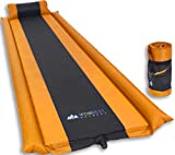 Sleeping Pad with Armrest & Pillow - Self inflating Sleeping Pad is Ideal for Camping Hiking Backpacking - Camping Pad - Never let your Arms & Foot feel the Ground - Inflatable Air Mat (Orange)